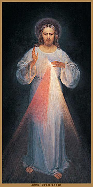 Le tableau original de Jésus miséricordieux peint sous les indications de sainte Faustine Kowalska (1905-1938) à  Vilnius en Llithuanie (Domaine public)