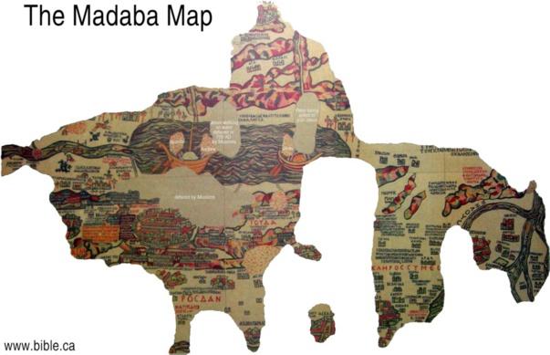 La carte de la Terre Sainte de Madaba ou mosaïque de Madaba (Jordanie)