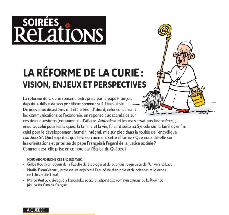 Vision et esprit de la réforme du pape François par Marco Veilleux