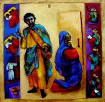 """""""The Widow and the Judge"""" Crédits photo : Nelly Bube. Elle est né en 1949 à  Karaganda au Kazakhstan et il est résidant maintenant aux États-Unis. Depuis 2000, Bube illustre des scènes de la Bible dont, entre autres, 40 paraboles des évangiles. Domaine public."""