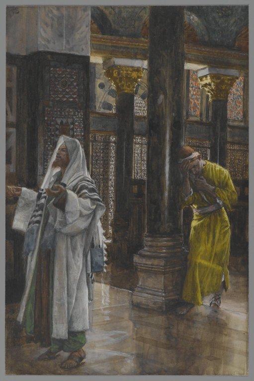 Le pharisien et le publicain par James Tissot au Musée de Brooklyn (Crédits photo : Domaine  public via Wikimedia Commons)