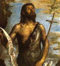 Le précurseur, saint Jean, le Baptiste,  par Tiziano Vecellio, dit le Titien (1489/1490-1576) Huile sur toile – 185 x 114 cm El Escorial, Monastère (Domaine public)