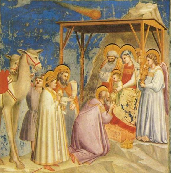 Giotto di Bondone. Adoration des mages. Eglise de l'Arena de Padoue (= chapelle Scrovegni). Fresque, 1303-1306. (Crédits photo : Wikimedia CC. Domaine public)
