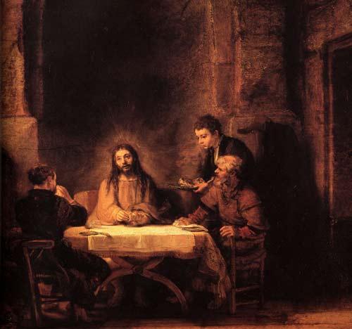 Les Disicples d'Emmaüs est une des plus célèbres œuvres du peintre Rembrandt (1606-1669). Cette œuvre a été peinte en 1648 et se trouve actuellement au Musée du Louvre, à Paris. (Domaine public)