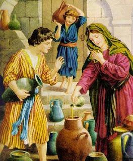 Élysée et la dame qui le reçoit  II Rois 4, 8 ss. (Domaine public)