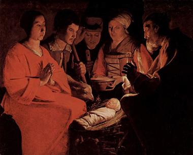 Tableau de l`Adoration des bergers de Georges Latour c.1664  (Huile sur toile)