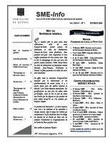 Notre bulletin SME-Info attire l'attention des internautes