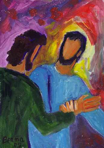 Pour vous qui suis-je?  Mathieu 16, 13-20  (Crédits photo : Bernadette Lopez, alias Berna dans Évangile et peinture)
