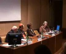 De gauche  à droite, Professeur Antonio Paolucci, Cardinal Giovanni Lajolo, Mme Ann Leahy et Mme Daniela Renosto