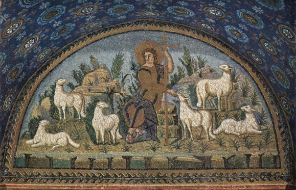 Mosaïque du Bon Pasteur (425-450)  Mausolée de Galla Placidia, lunette nord, Ravenne en Italie.   (Crédits photo : Wikipedia Commons)