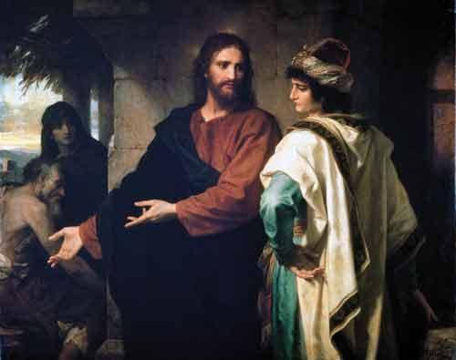 Le jeune homme riche et Jésus par   Heinrich Hofmann  (1824–1911) Domaine public via Wikimedia Commons