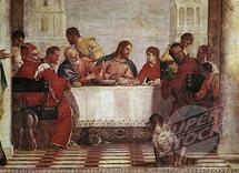 Détail du repas à la table de Lévi (Mathieu) 1573 de Paolo Veronese (1528-1588) à la Galleria dell 'Accademia, Venise.