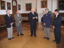 Jubilaires au Séminaire de Québec. L`abbé Thivierge est le premier à gauche.