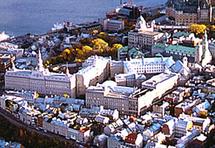 Site historique du Séminaire de Québec. Les édifices du Collège François-De-Laval se trouvent au premier plan à droite.