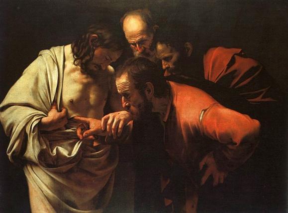 L'incrédulité de saint Thomas par le Caravage vers 1601-1602 Domaine public via Wikipedia Commons