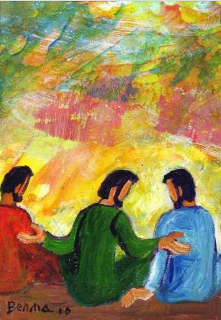 Jésus en conversation avec ses disciples - Jean 14, 23-29 (Crédits photo : Bernadette Lopez, alias Berna dans Évangile et peinture)