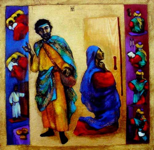 Peinture de Nelly Bube, une artiste du Kazakhstan d'origine germano-russe convertie au christianisme (Crédits photo : Office de catéchèse du Québec - Domaine public)