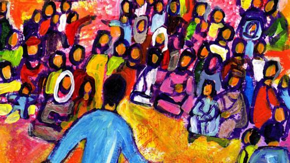 Prédication de Jésus sur la montagne des béatitudes  (Crédits photo : Bernadette Lopez, alias Berna dans Évangile et peinture )