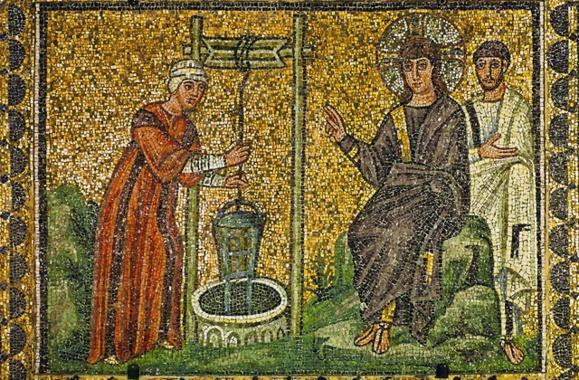 Mosaïque grecque : Jésus et la Samaritaine (Domaine public)