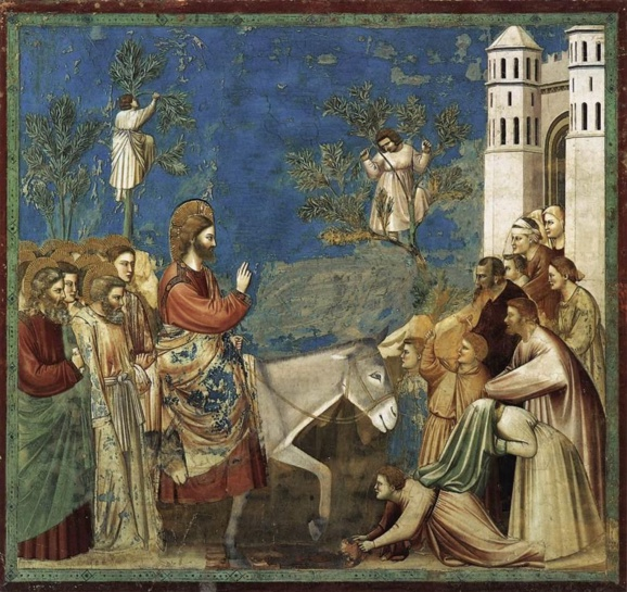 Giotto di Bondone - Scènes de la vie du Christ : l'entrée à Jérusalem. Création : entre 1304 et 1306. (Crédits photo : Domaine public Wikipedia)