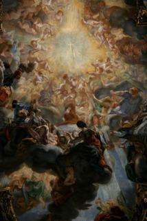 La fresque de la voute de l'église du Gesù à Rome