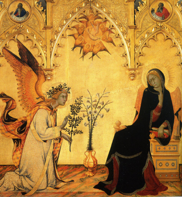 Simone Martini : L'Annonciation à Marie 1333. Tempera sur bois (Domaine public)