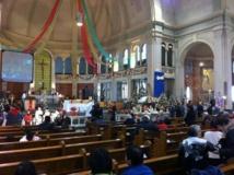 L'église de Giffard durant les préparatifs de la célébration