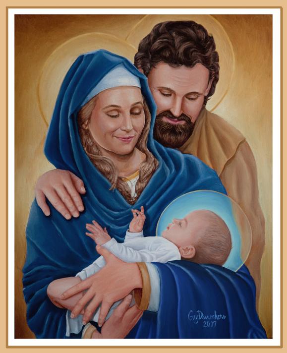 La Sainte Famille de Jésus, Marie et Joseph (Tableau de Mgr Guy Desrochers, évêque de Pembroke en Ontario au Canada reproduit avec la permission de l'auteur)