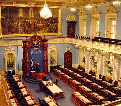 Le Salon bleu où siège l'Assemblée nationale du Québec au Parlement de Québec