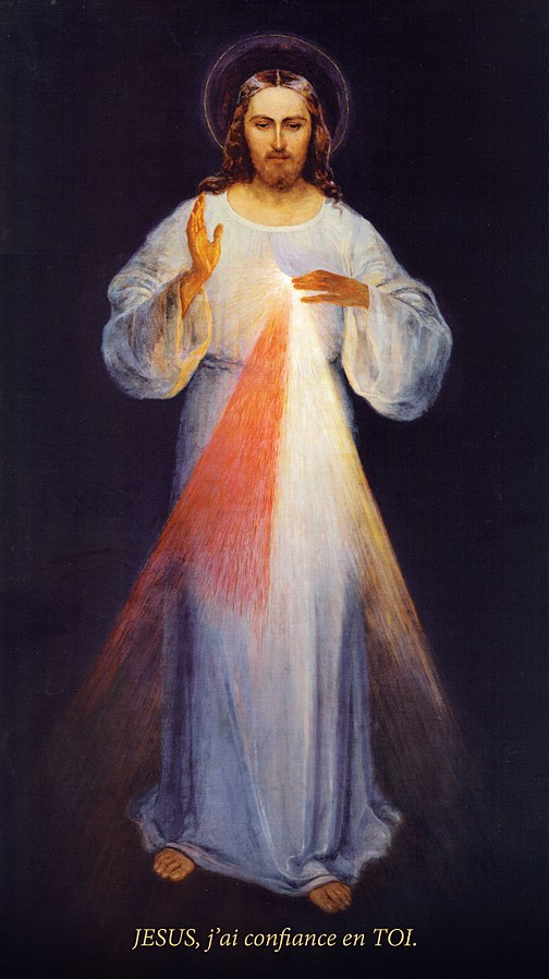 Véritable tableau de Jésus Miséricordieux, par Eugeniusz Kazimirowski en 1934). Le seul qui ait été peint sous les indications de sainte Faustine, contrairement au tableau d'Adolf Hyła peint en 1943 après la mort de sainte Faustine et souvent plus connu. (Crédits photo :  Wikimedia Commons)