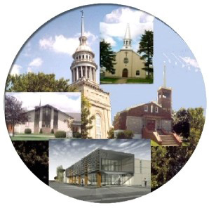Le logo de la paroisse La Nativité de la Sainte Vierge de Laprairie avec les cinq lieux de culte : Christ-Roi, Laprairie, Saint-Marc, Saint-Mathieu, Saint-Philippe
