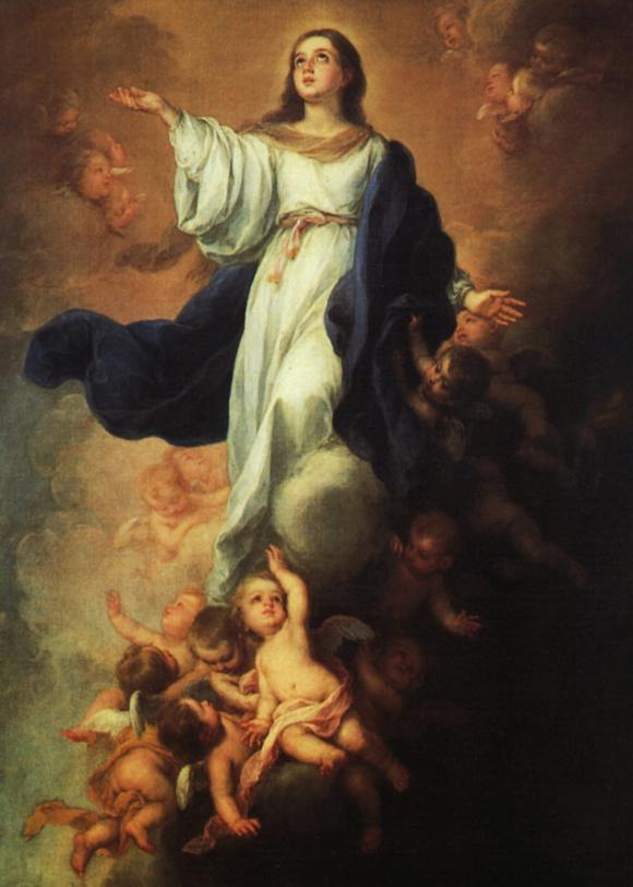 L'Assomption de la Vierge Marie par Bartolomé Esteban Murillo 1670 Musée de l'Hermitage à St-Petersbourg (Domaine public)
