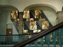 Vitraux d'Olivier Ferland dans le hall du 6e étage du Pavillon Jean-Olivier Briand