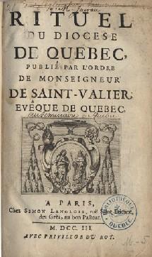 Rituel du Diocèse de Québec 1703