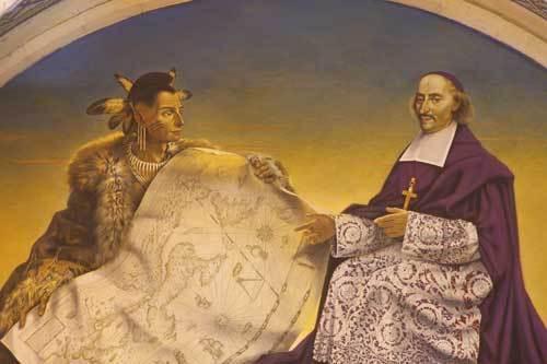 Très belle fresque de Marius Dubois en 2005 illustrant les visites pastorales de l'immense diocèse de François de Laval et sa proximité avec les autochtones. Cette fresque se trouve dans la chapelle de l'Immaculée Conception du sanctuaire de Sainte-Anne-de-Beaupré près de Québec. (Crédits Photo Daniel Abel)