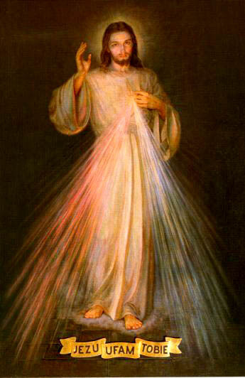 """Image de sainte  Faustine Kowalska (1905-1938) qui s'en est servi pour promouvoir la dévotion à la Divine Miséricorde. Sainte Faustine a fait peindre cette fameuse icône où est inscrite l'invocation suivante :  """"Jésus, j'ai confiance en Toi"""" d'après l'apparition dont elle avait été favorisée. Le pape Jean-Paul II a canonisé sœur Faustine le 30 avril 2000."""