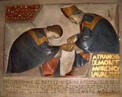 ùbas-relief représentant l'ordination épiscopale de François de Laval à l'Abbaye St-Germain-des-Prés à Paris le 8 décembre 1658