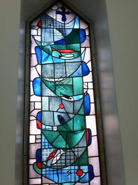 Vitrail de Marius Plamondon dans l'ancien Grand Séminaire sur la Cité Universitaire à Ste-Foy Québec (Crédits photo : H. Giguère)