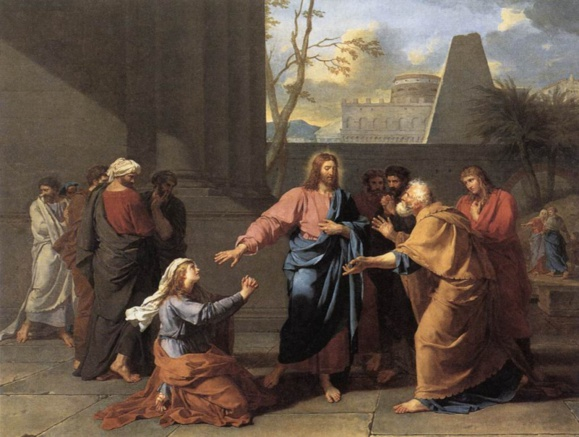 La veuve de Naïm implorant Jésus de lui redonner son fils. Jean-Germain Drouais (1763-1788), peintre français de l'école de David. Domaine public.
