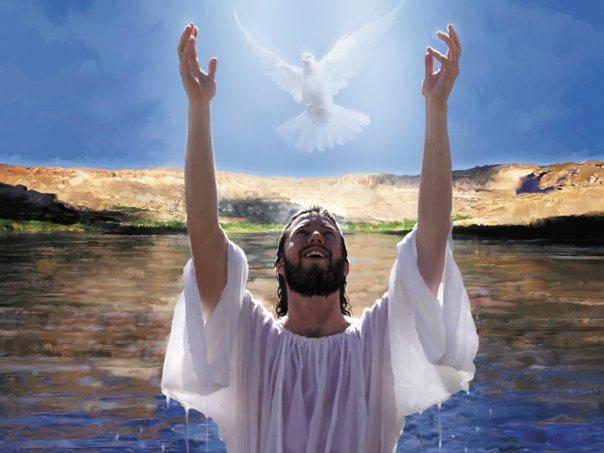 L'Esprit représenté sous la forme d'une colombe au-dessus de Jésus lors de son Baptême par Jean-Baptiste dans le Jourdain. Détail de la mosaïque du baptistère de la basilique de Ste-Anne-de-Beaupré au Québec (Crédits photo : H. Giguère)