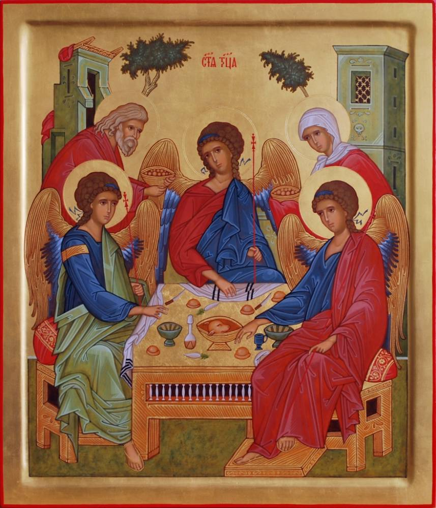Les trois anges qui rencontrent Abraham sous le chêne de Mambré, images de la Sainte Trinité. Auteur: Sergey Krasavin Année: 2012 (Crédits photo : Galerie d'art contemporain Russie)