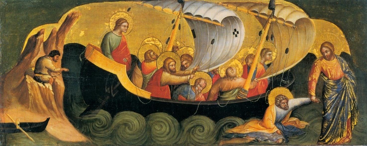 Le Christ sauvant l'apôtre Pierre de la noyade à cause de son manque de foi par Lorenzo Veneziano (1370) Staatliche Museen de Berlin (Domaine public)