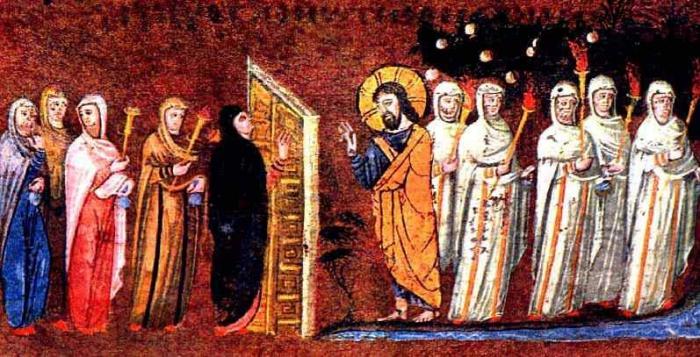 Les vierges folles et les vierges sages, manuscrit, Codex Rossano, Ms EAB 644, 6e siècle, (Crédits photo : Musée Rossano, Rossano, Italie )