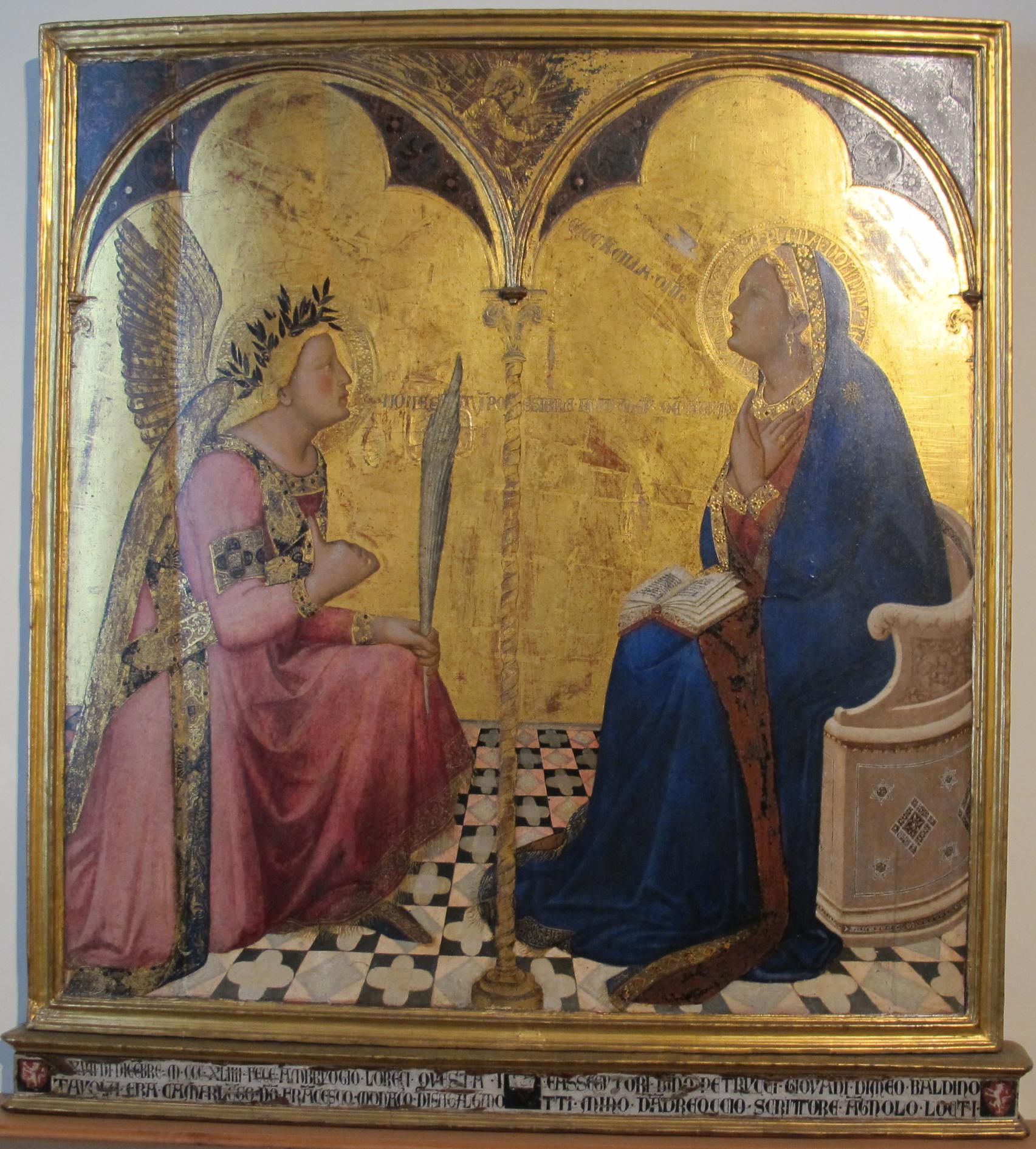 Ambrogio Lorenzetti, L'annonciation, 1343 (Domaine public via Wikimedia Commons)