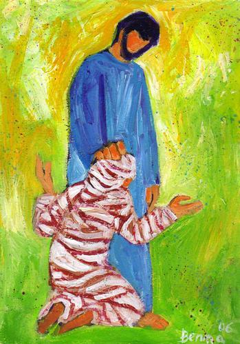 Guérison d'un lépreux (Crédits photo : Bernadette Lopez, alias Berna dans Évangile et peinture)