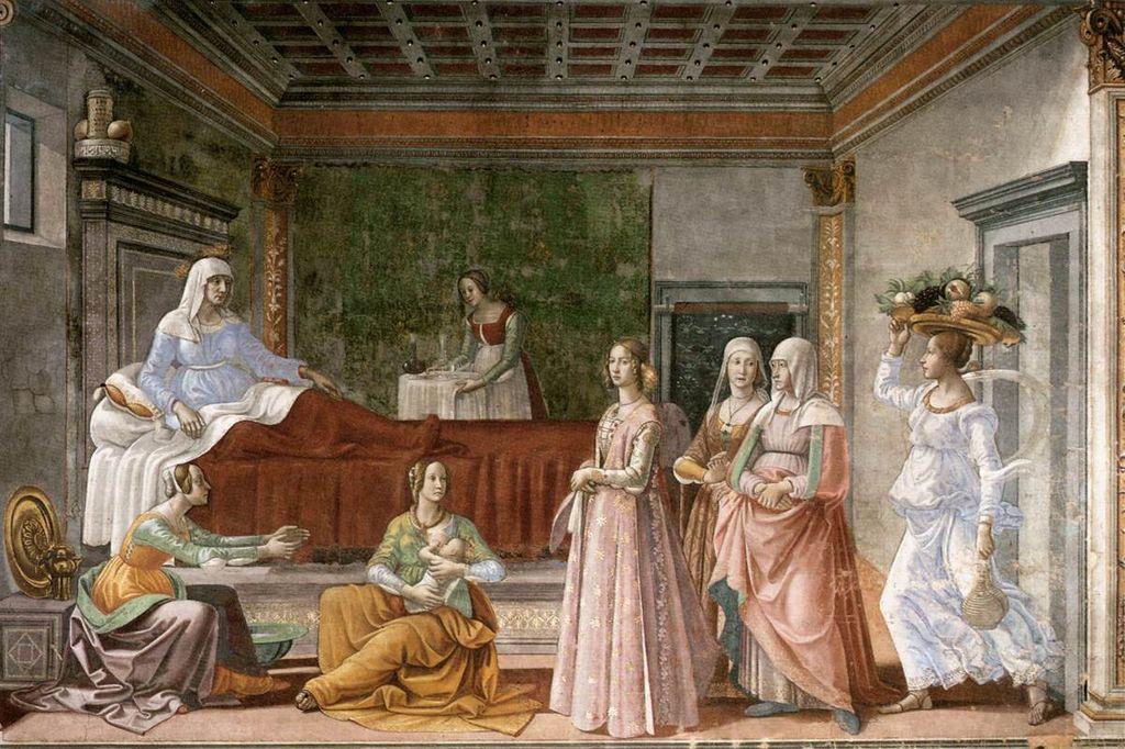 La naissance de saint Jean-Baptiste par Domenico Ghirlandaio  (1448–1494)  Domaine public via Wikimedia Commons