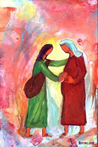 Rencontre de Marie et Élisabeth (Crédits photo : Bernadette Lopez, alias Berna dans Évangile et peinture)