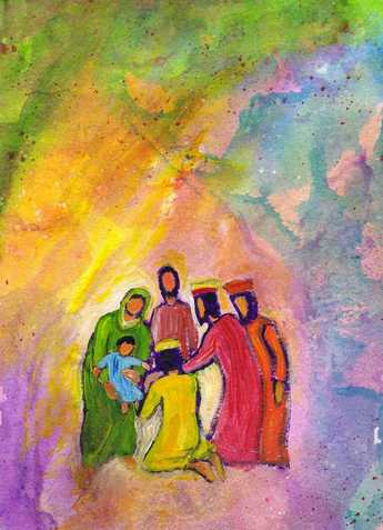 Adoration des rois mages (Crédits photo : Bernadette Lopez, alias Berna dans Évangile et peinture)