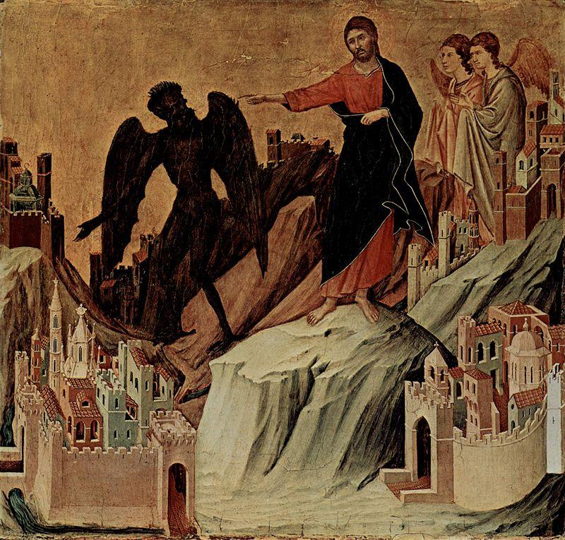 Les tentations de Jésus au désert par Duccio di Buoninsegna vers 1308-1310 (Crédits photo : Wikipedia Commons)
