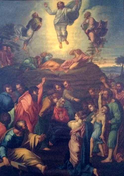La transfiguration de Jésus sur le mont Thabor représentée dans cette reproduction d'un tableau de Raphaël qui se trouve au Séminaire de Québec est le dernier tableau peint par Raphaël, commencé en 1518, inachevé de sa main en 1520, date de sa mort.   (Crédits photo : H. Giguère)